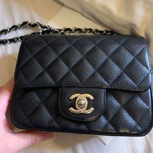Chanel Mini Square in Black Caviar Silver HW